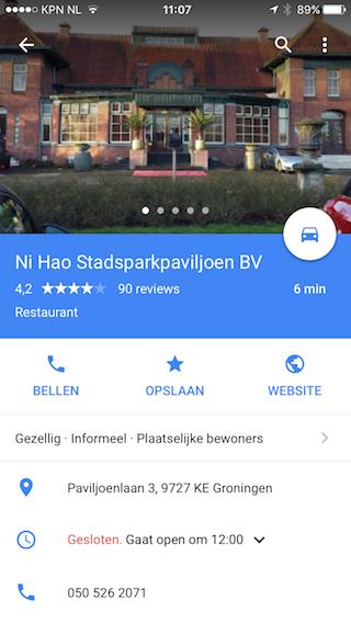 Google Maps beschrijvingen