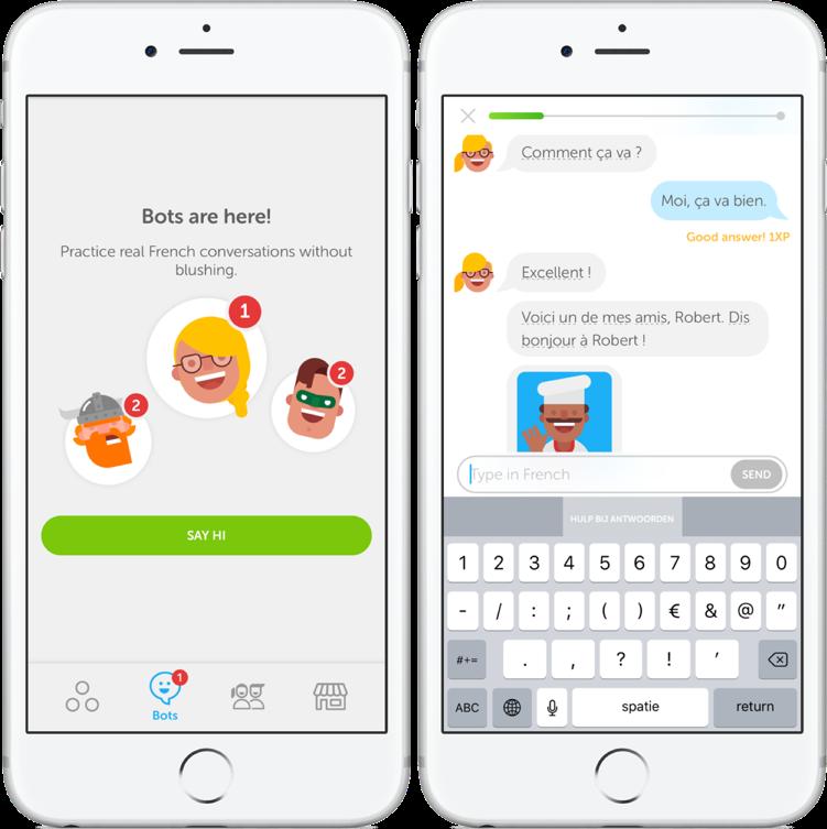 Gesprek met een chatbot in Duolingo.