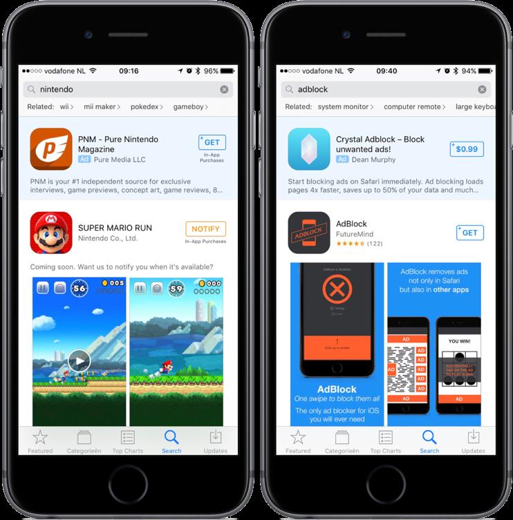 App Store advertenties bij zoeken naar Nintendo en adblock.