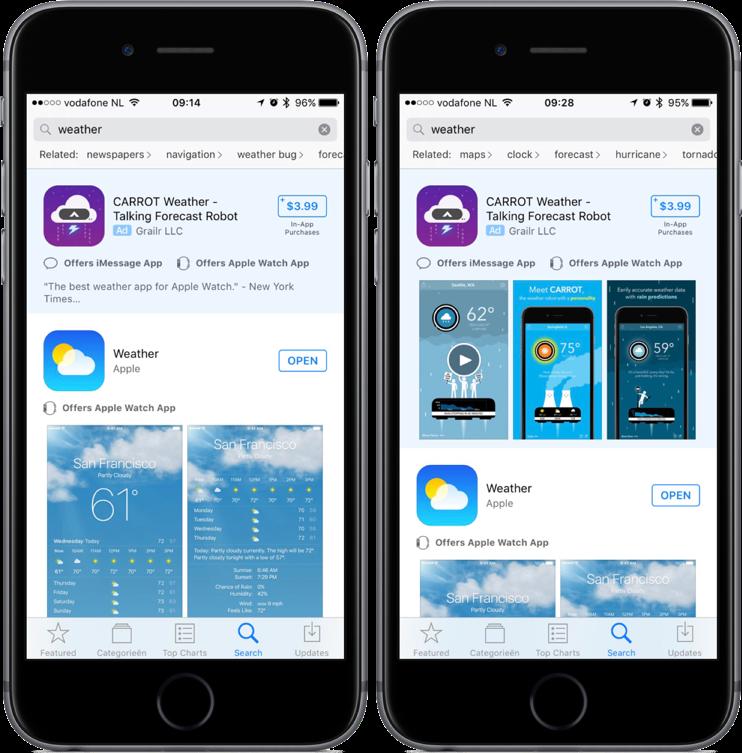 App Store-advertenties bij zoeken naar weer-app.