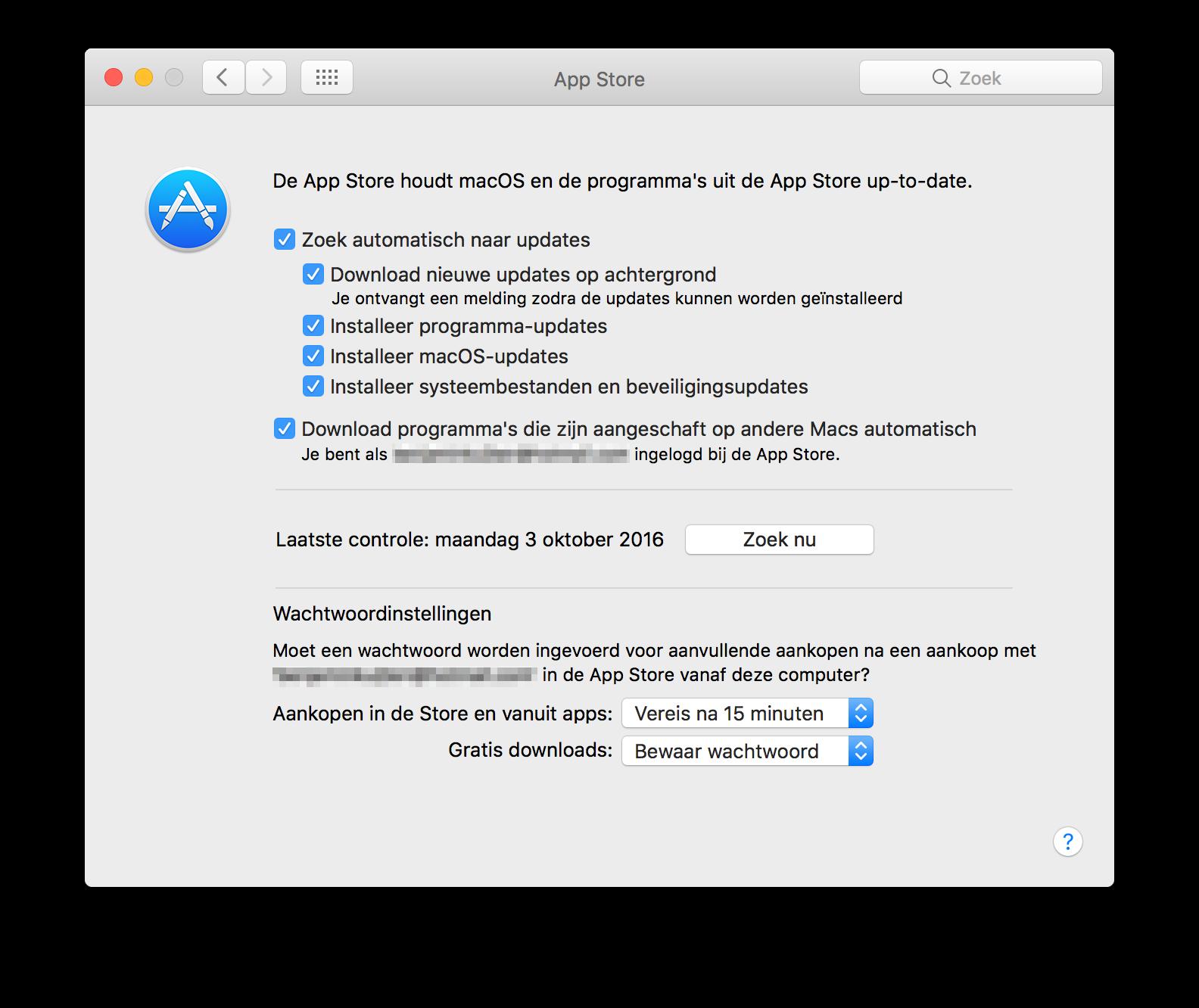 Mac App Store automatische downloads.