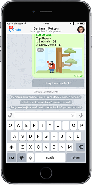 Telegram-game op de iPhone