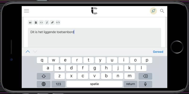 Liggend toetsenbord op de iPhone Plus-modellen.