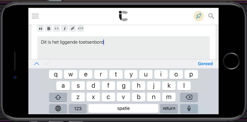Liggend toetsenbord op de iPhone Plus-modellen met Weergavezoom.
