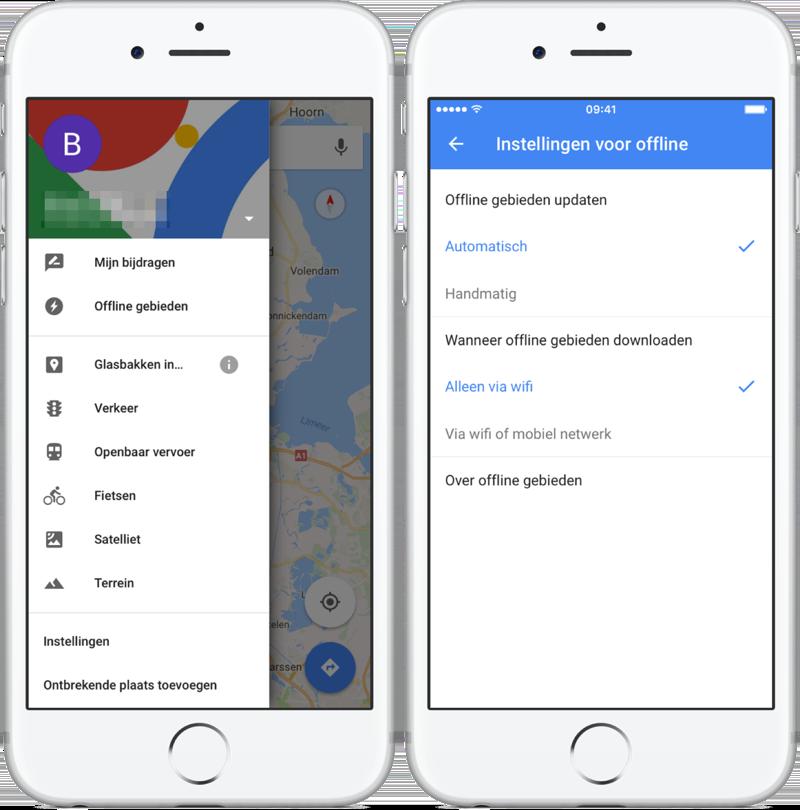 Instellingen voor offline kaart in Google Maps.