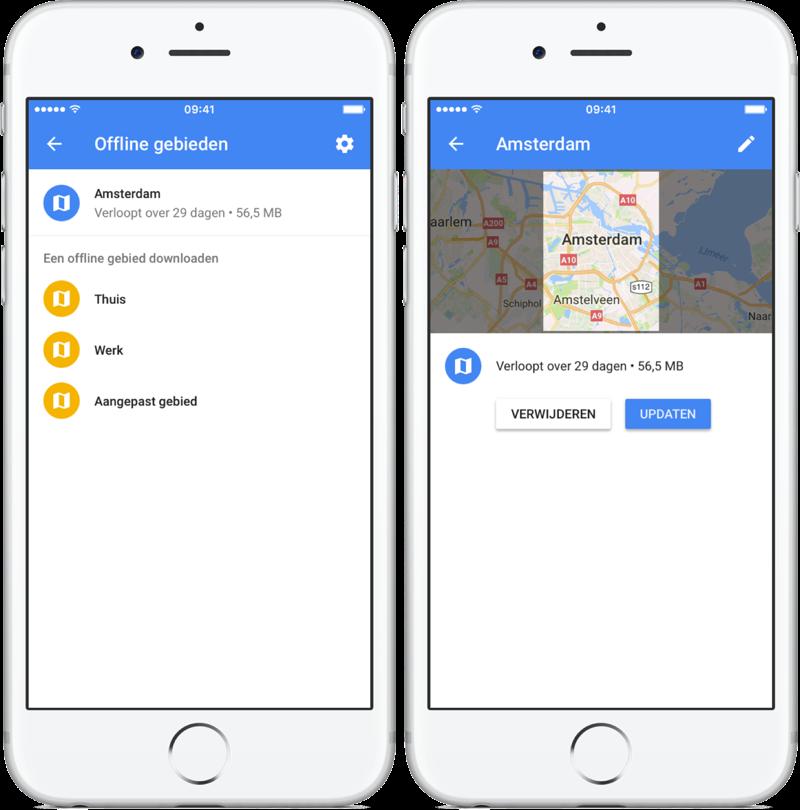 Offline kaart bijwerken in Google Maps.
