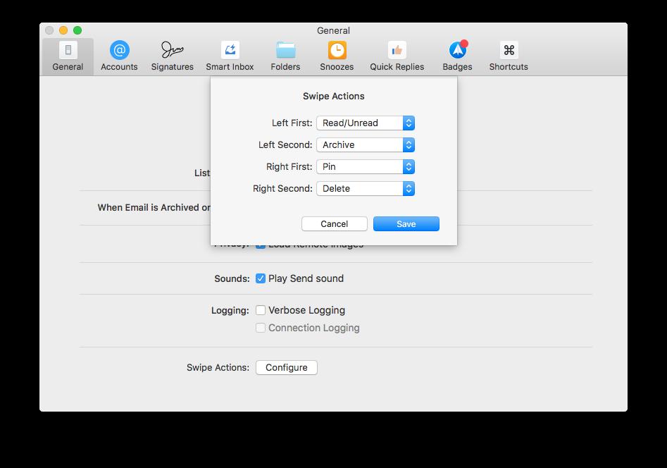 Veegbewegingen instellen in Spark voor de Mac.