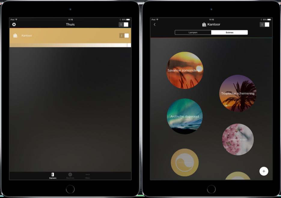 Hue op de iPad.