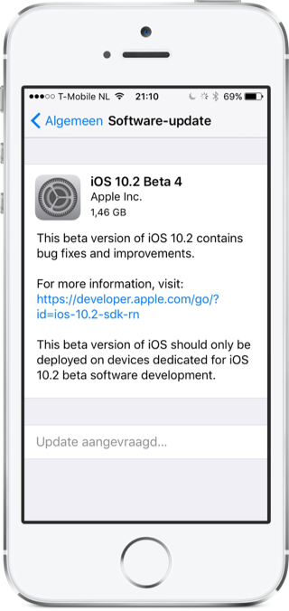 Beta 4 van iOS 10.2.