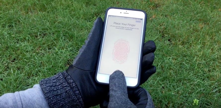Taps voor Touch ID met handschoenen.