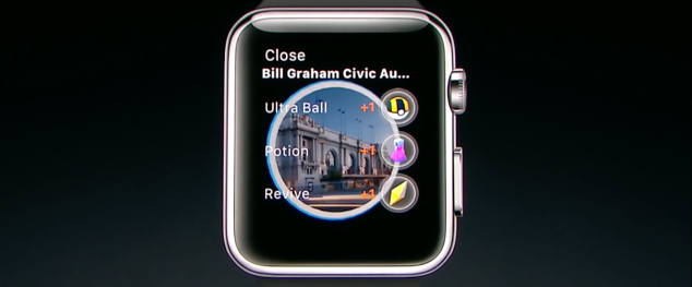 Pokémon Go op de Apple Watch met PokéStop.