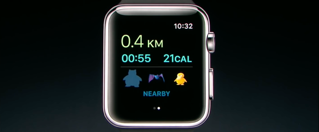 Pokémon Go op de Apple Watch.