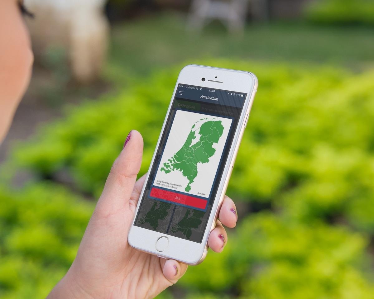 Weersverwachting KNMI op de iPhone.