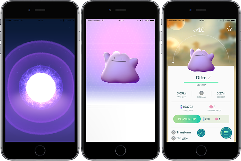 Ditto vangen in Pokémon Go