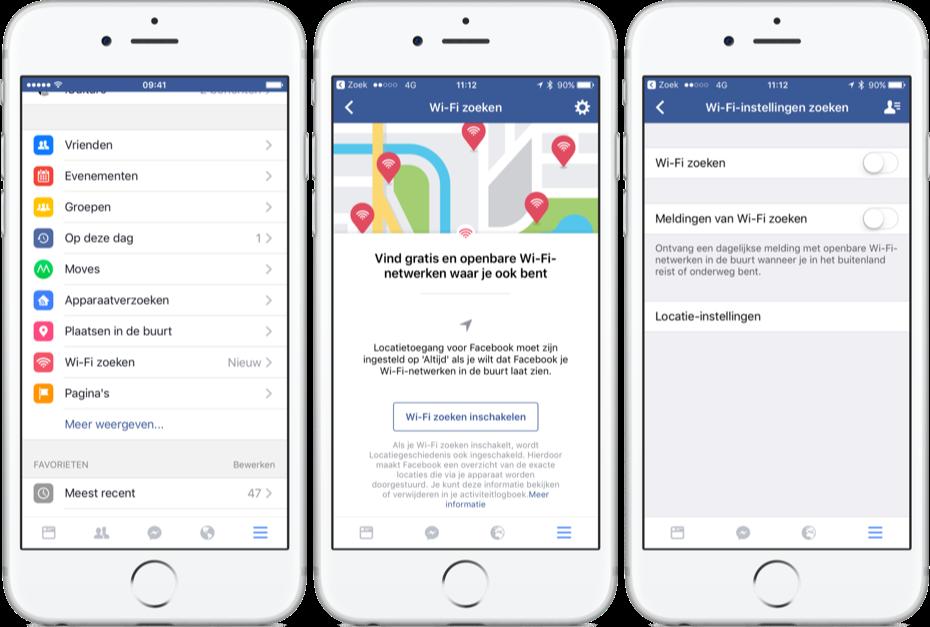 Facebook kan naar openbare Wi-Fi zoeken.