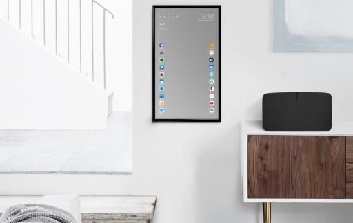 Apple Mirror in de woonkamer.