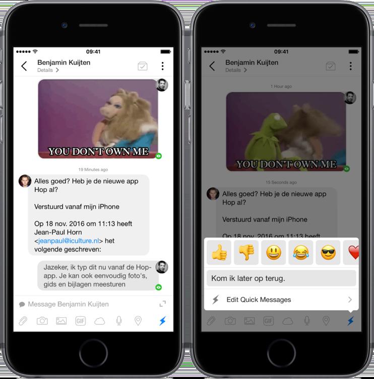 Hop is een mailapp in de vorm van een chatapp.