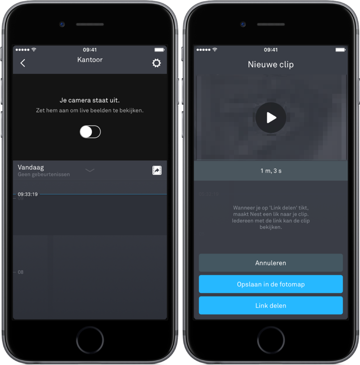 Een videoclip aanmaken in de Nest-app.