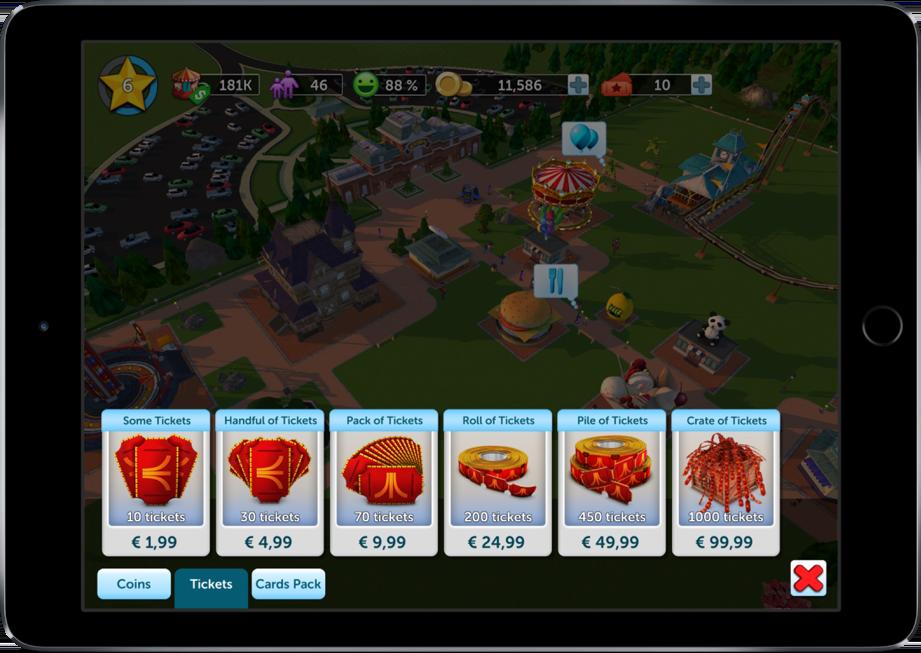 Geld uitgeven in RollerCoaster Tycoon Touch.
