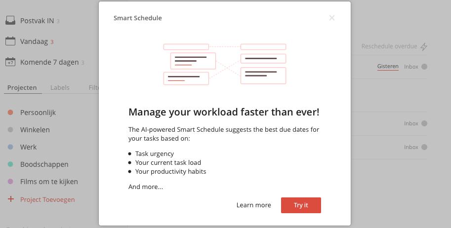 Todoist Smart Schedule op het web.