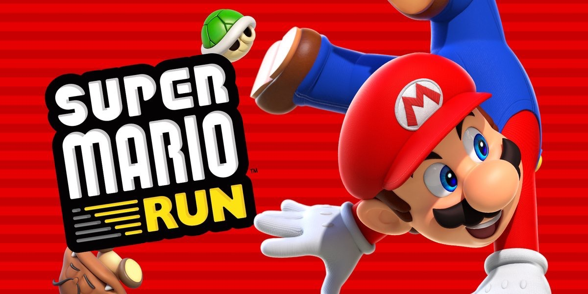 Mario in een handstand met Super Mario Run.