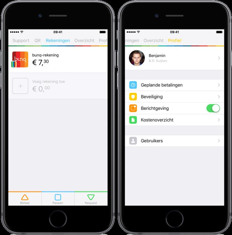 Nieuwe design in bunq-app.