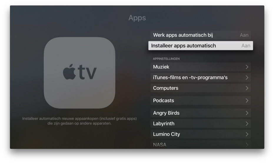 Apps automatisch installeren op Apple TV.