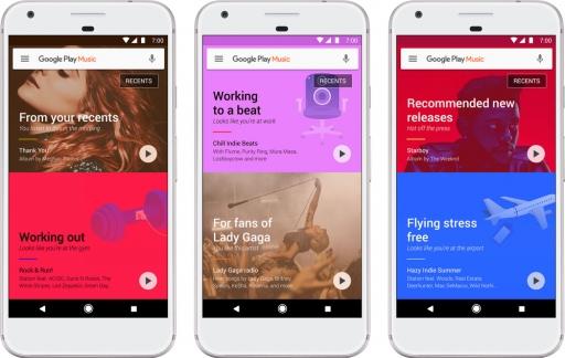 Google Play Music aanbevelingen