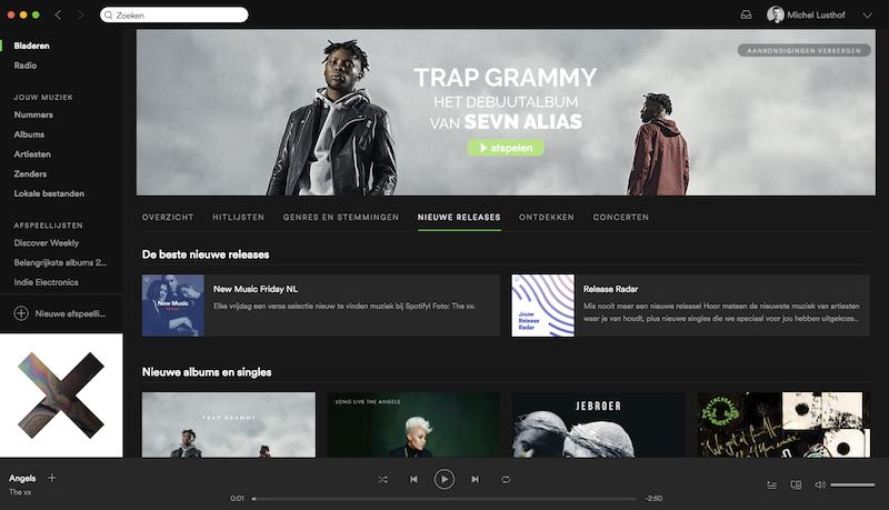 Spotify voor Mac - nieuwe interface