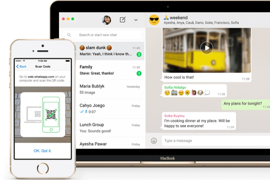 WhatsApp op de MacBook en op de iPhone.