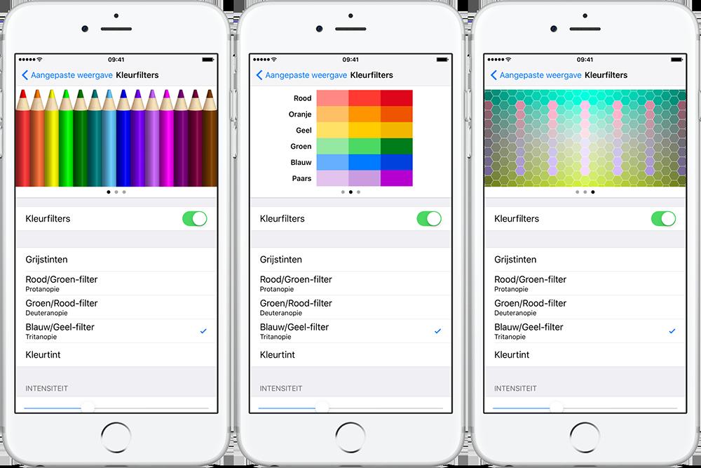 Kleurenblind-kleurfilters voor iPhone en iPad