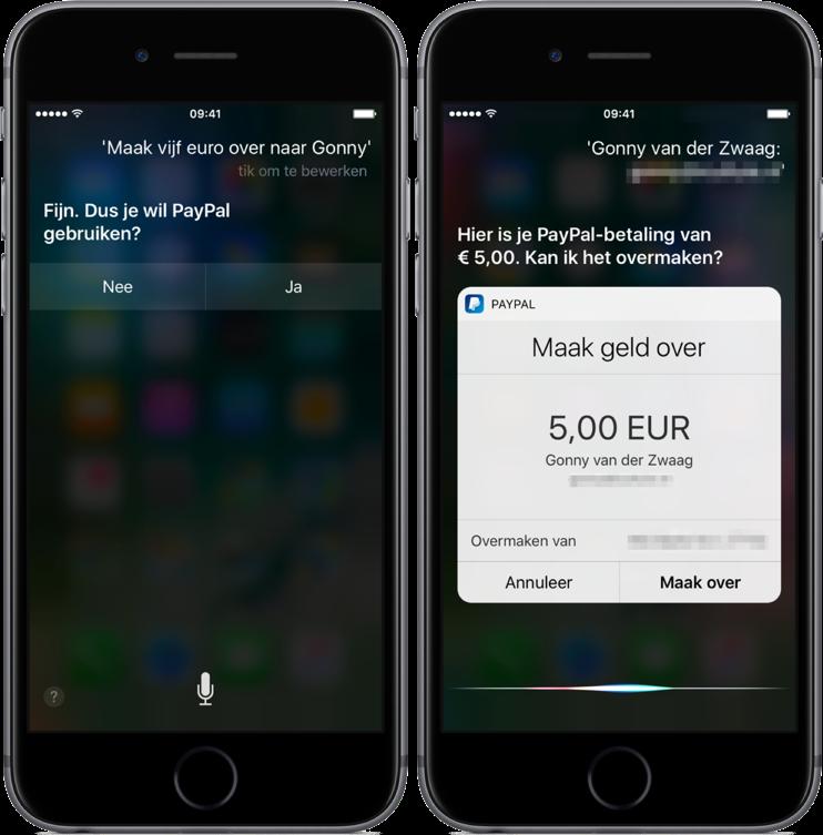 Geld overmaken met Siri in PayPal.