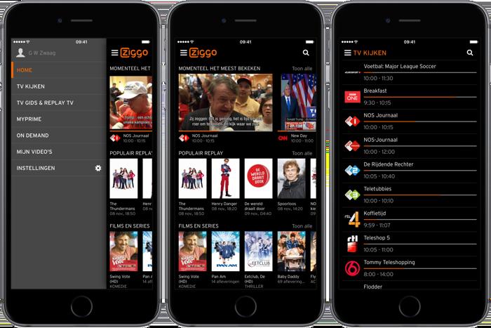 Ziggo GO app-menu's