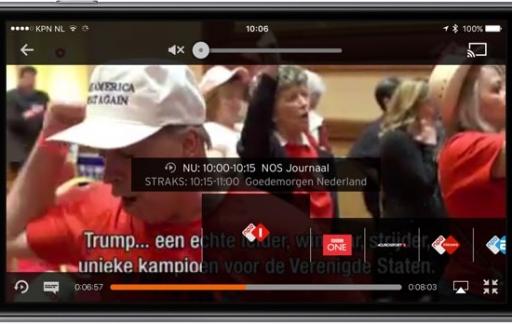Ziggo GO-app met zenders