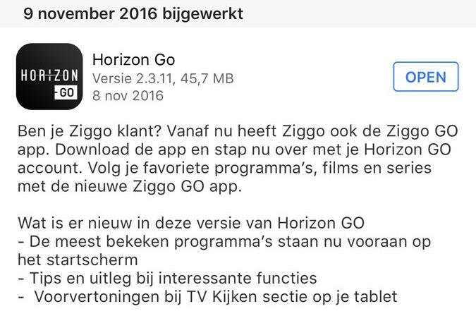 Horizon GO-app bijgewerkt