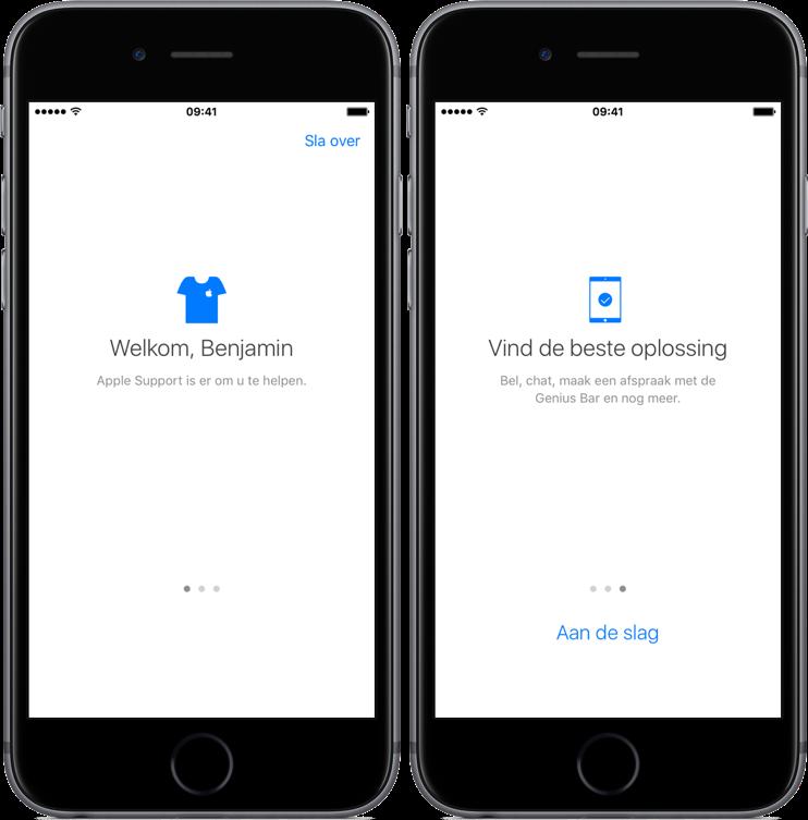 Intro van Apple Support-app.