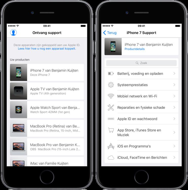 Apple Support met toestellen en support opties.