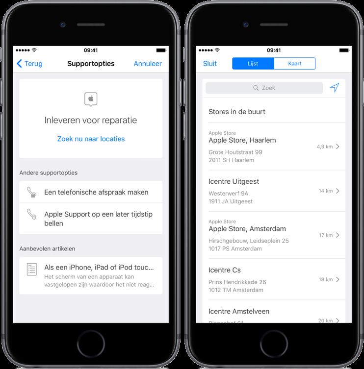 Apple Support geeft locaties voor reparaties in de buurt.