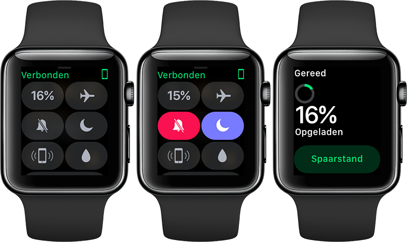 Bedieningspaneel op Apple Watch