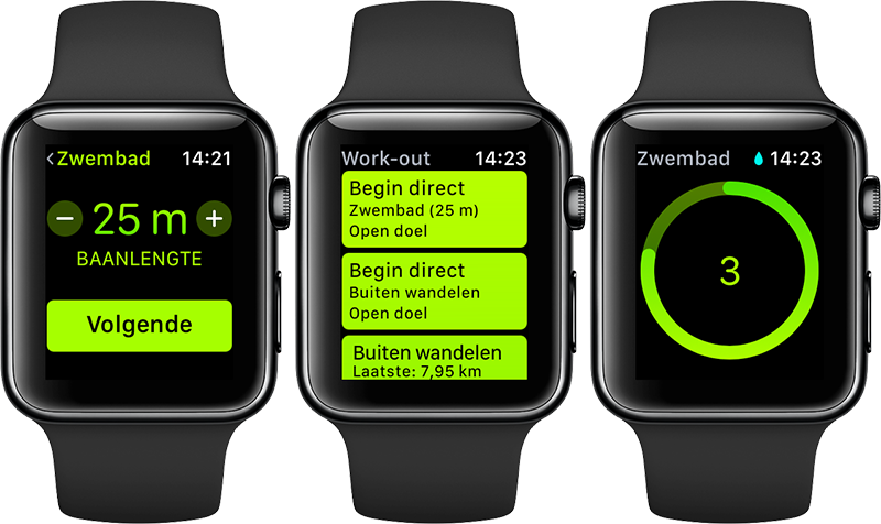 Zwemmen-workout op Applw Watch Series 2