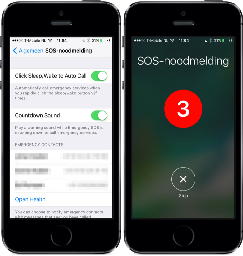 SOS-noodmelding in iOS 10.2.