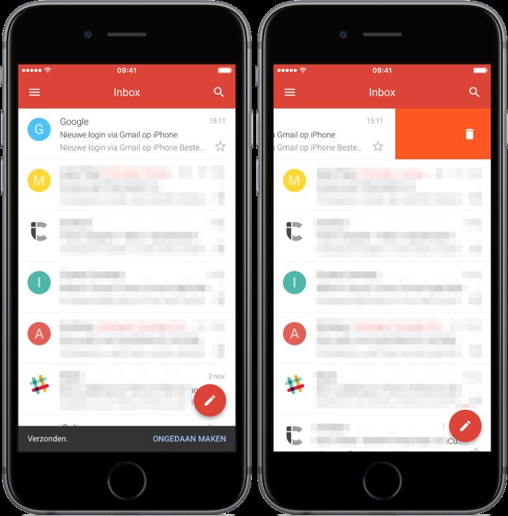 Gmail met veegbewegingen en ongedaan maken van verzonden mail.