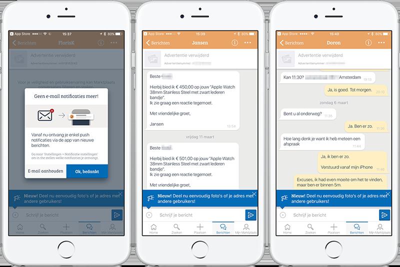 Marktplaats: messaging om makkelijker te communiceren