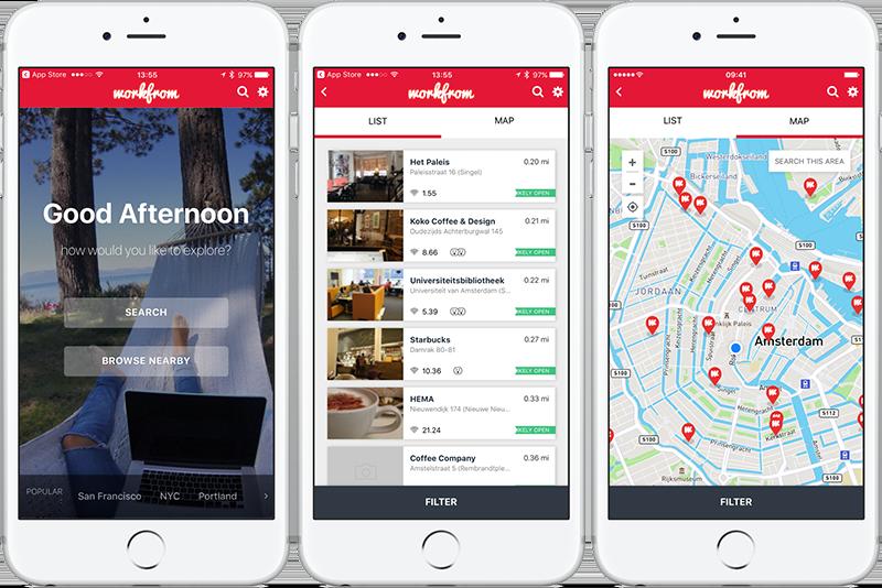 Workfrom-app: openingsscherm en plekken in Amsterdam