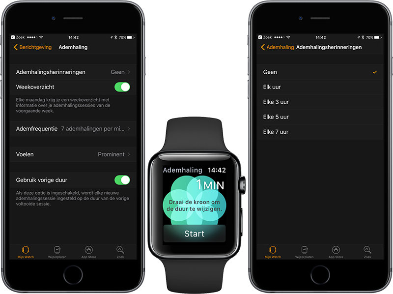 Ademhaling-app op iPhone en Apple Watch