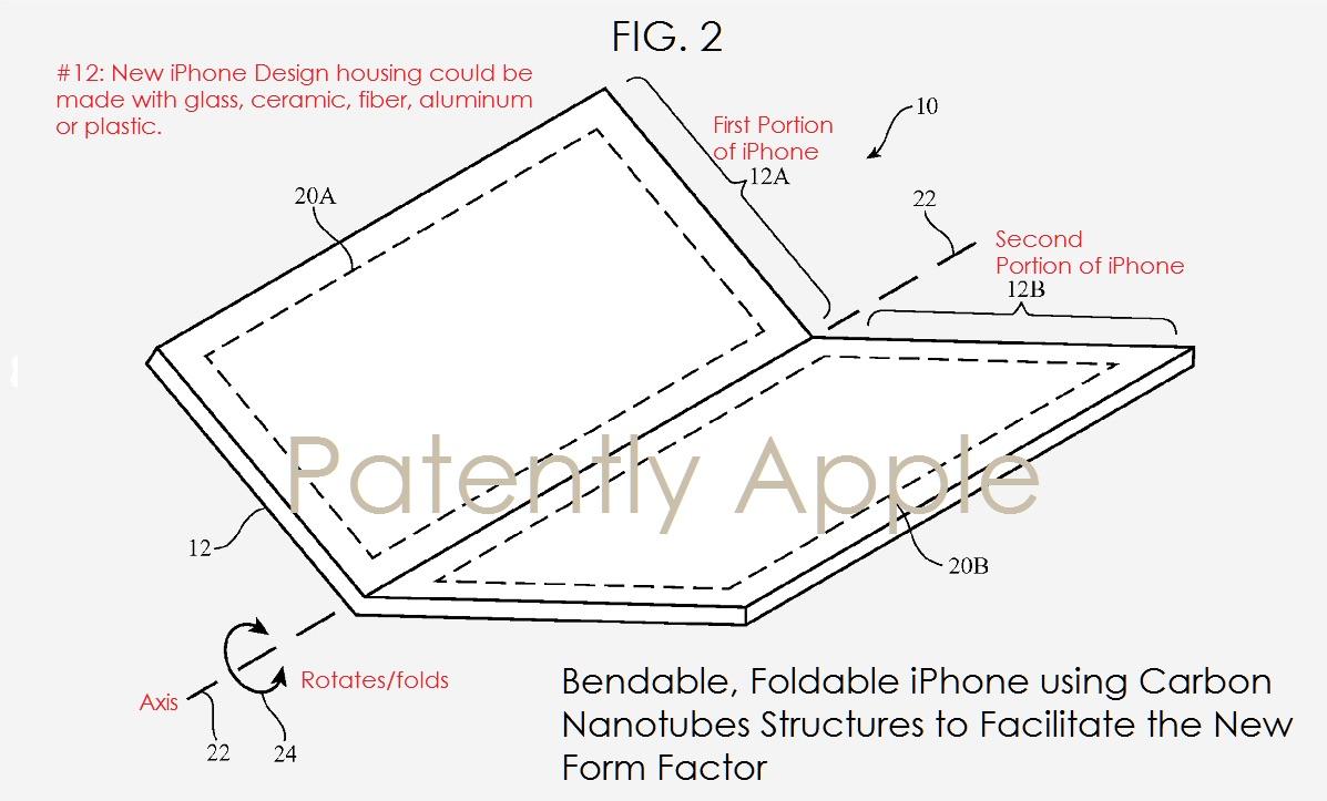 Patent voor buigbare iPhone.
