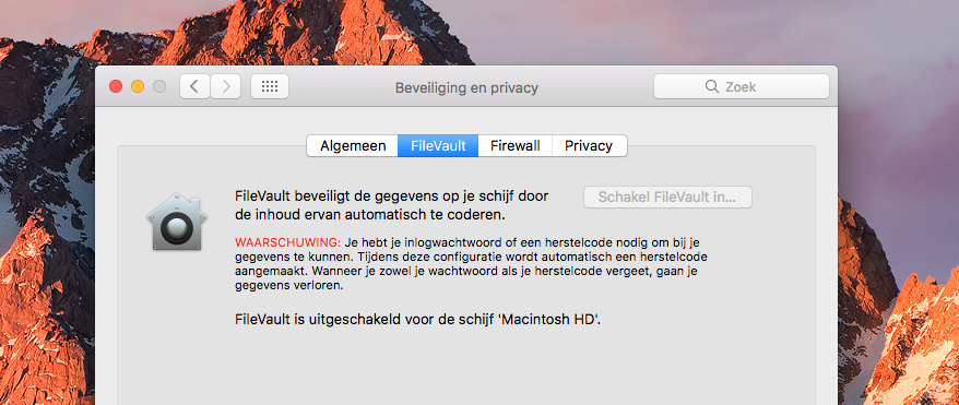 FileVault uitschakelen