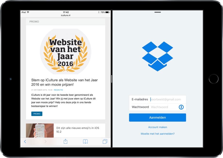 Dropbox met Split View.
