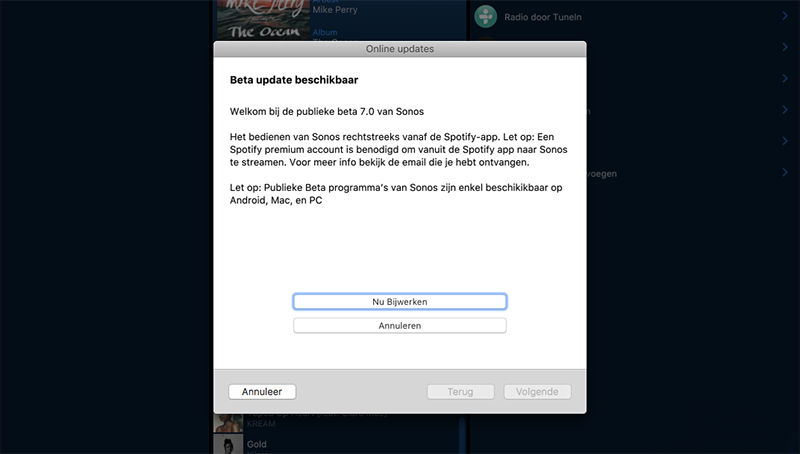 Sonos-beta melding