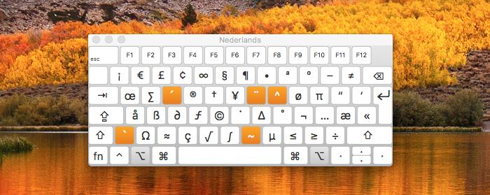 Toetsenbordweergave macOS